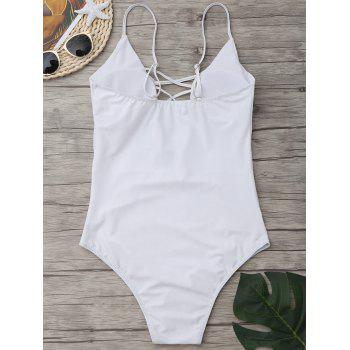 Criss Cross One Piece Swimsuit - WHITE 2XL