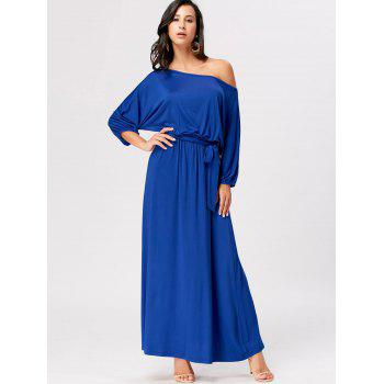 Boat Neck Belted Maxi Dress - ROYAL XL