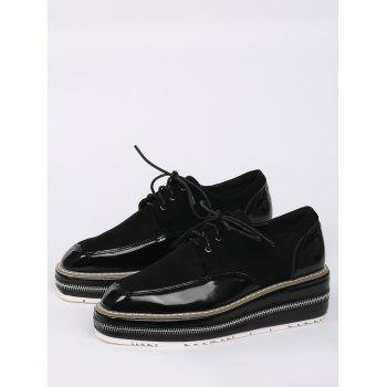 Zipper Embellishment Stitching Wedge Shoes - BLACK BLACK