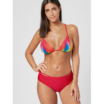 Rainbow Print Braided Straps Bikini Set - RED RED