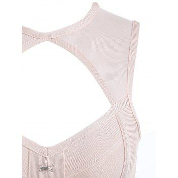 Mesh Insert Cut Out Bandage Dress - PINK PINK