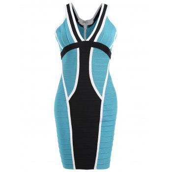 V Neck Color Block Bandage Dress - BLUE BLUE