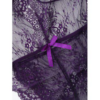 Lace See Thru Backless Teddy - PURPLE M