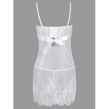 Endearing Spaghetti Strap Bowknot and Ruffles White Lace Babydoll For Women - WHITE 3XL