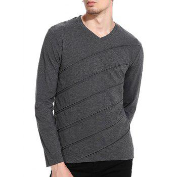 Accordion Pleat V Neck T-shirt - DEEP GRAY L