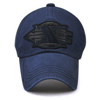 X Battle Embroiderie Badge Embellished Baseball Hat - Bleu