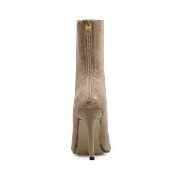 Pointed Toe Cross Strap Mid Calf Boots - APRICOT 40