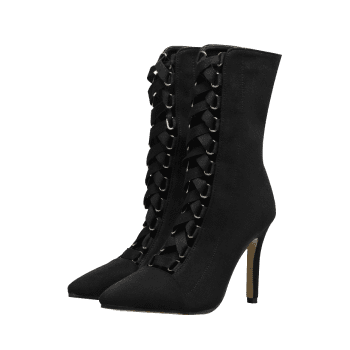 Pointed Toe Cross Strap Mid Calf Boots - BLACK 40