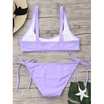 U Neck Tie Side Bikini Set - LIGHT PURPLE S