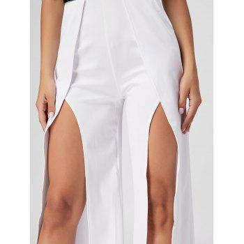 Strapless High Slit Maxi Jumpsuit - WHITE WHITE