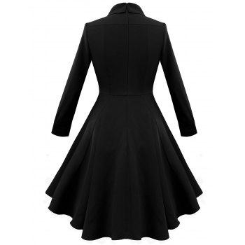 Keyhole A Line Vintage Dress - BLACK M