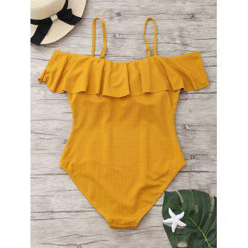 Ribbed Knit Flounce One Piece Swimsuit - GINGER M