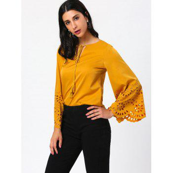 Tassel Drawstring Cut Out Flared Sleeve Blouse - GINGER XL