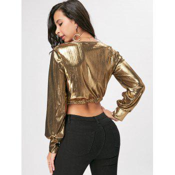 Long Sleeve Plunging Neck Cropped Top - GOLDEN M