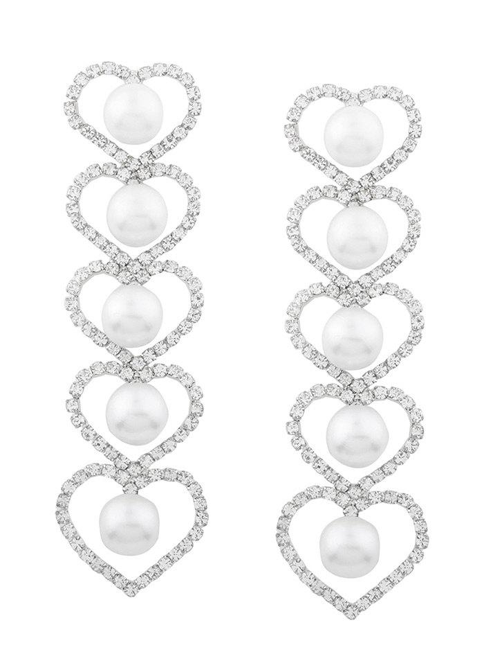 Faux Pearl Rhinestone Heart Party Earrings faux opal geometric earrings
