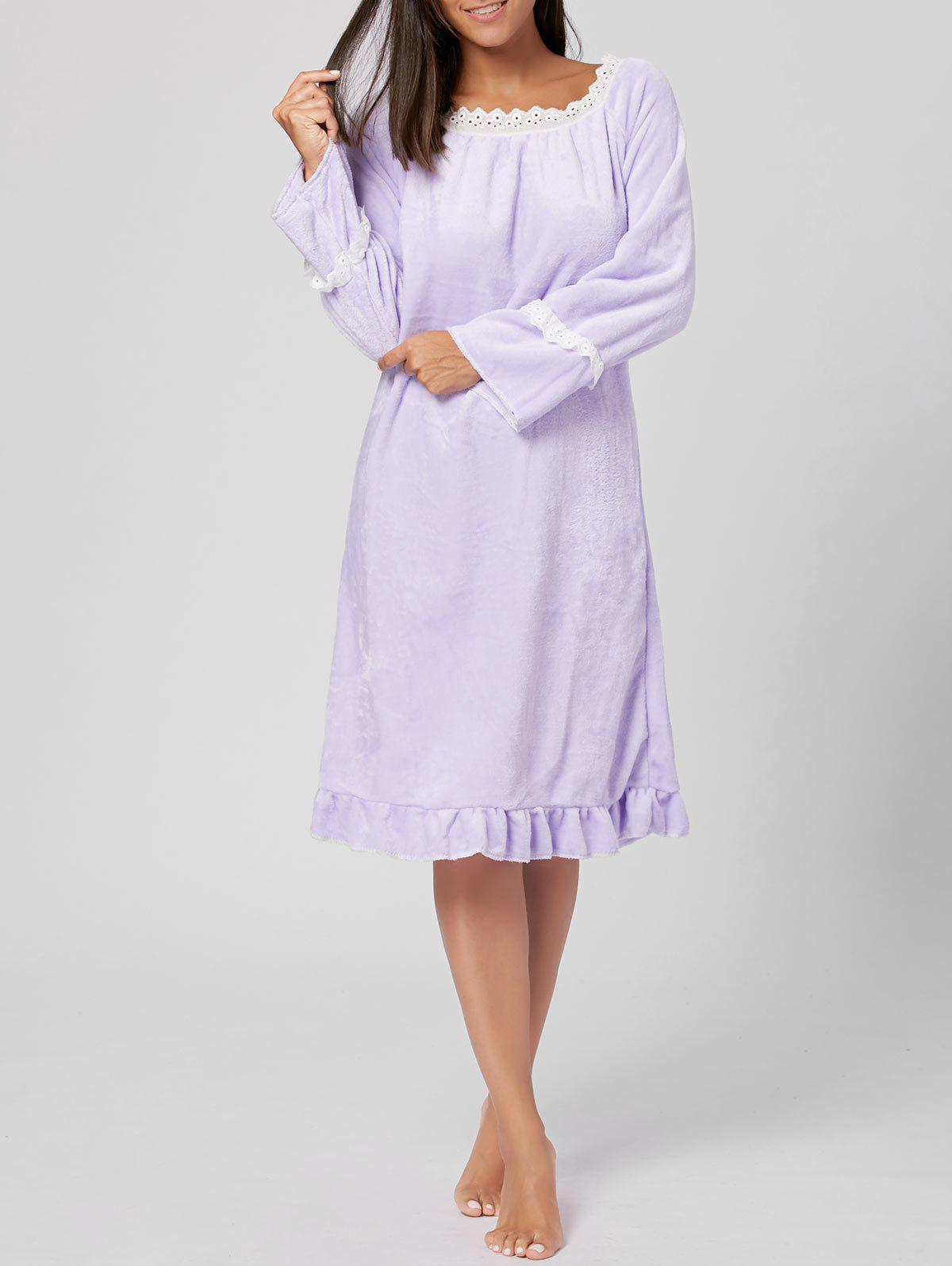 Fuzzy Flounce Winter Loungewear Robe - Violet Clair XL