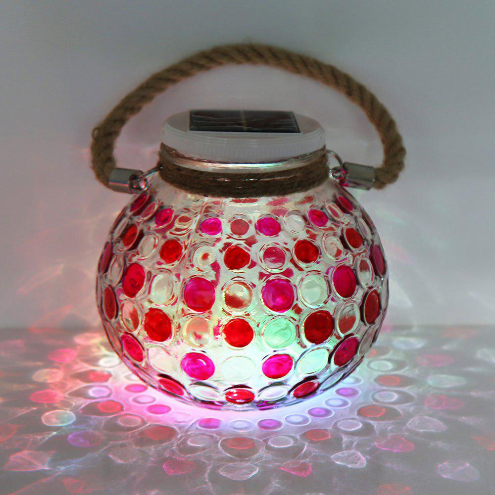 Romantic Color Changing Solar Glass Jar Hanging Light - RED