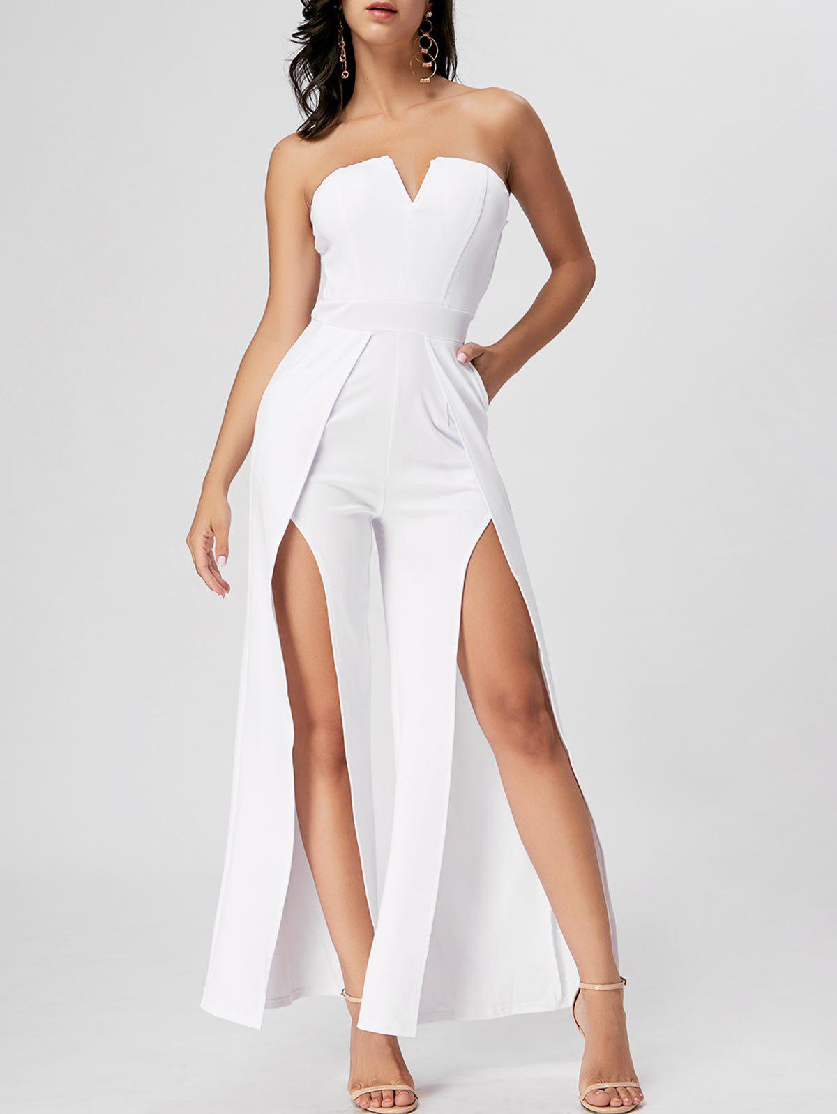 Strapless High Slit Maxi Jumpsuit - WHITE M