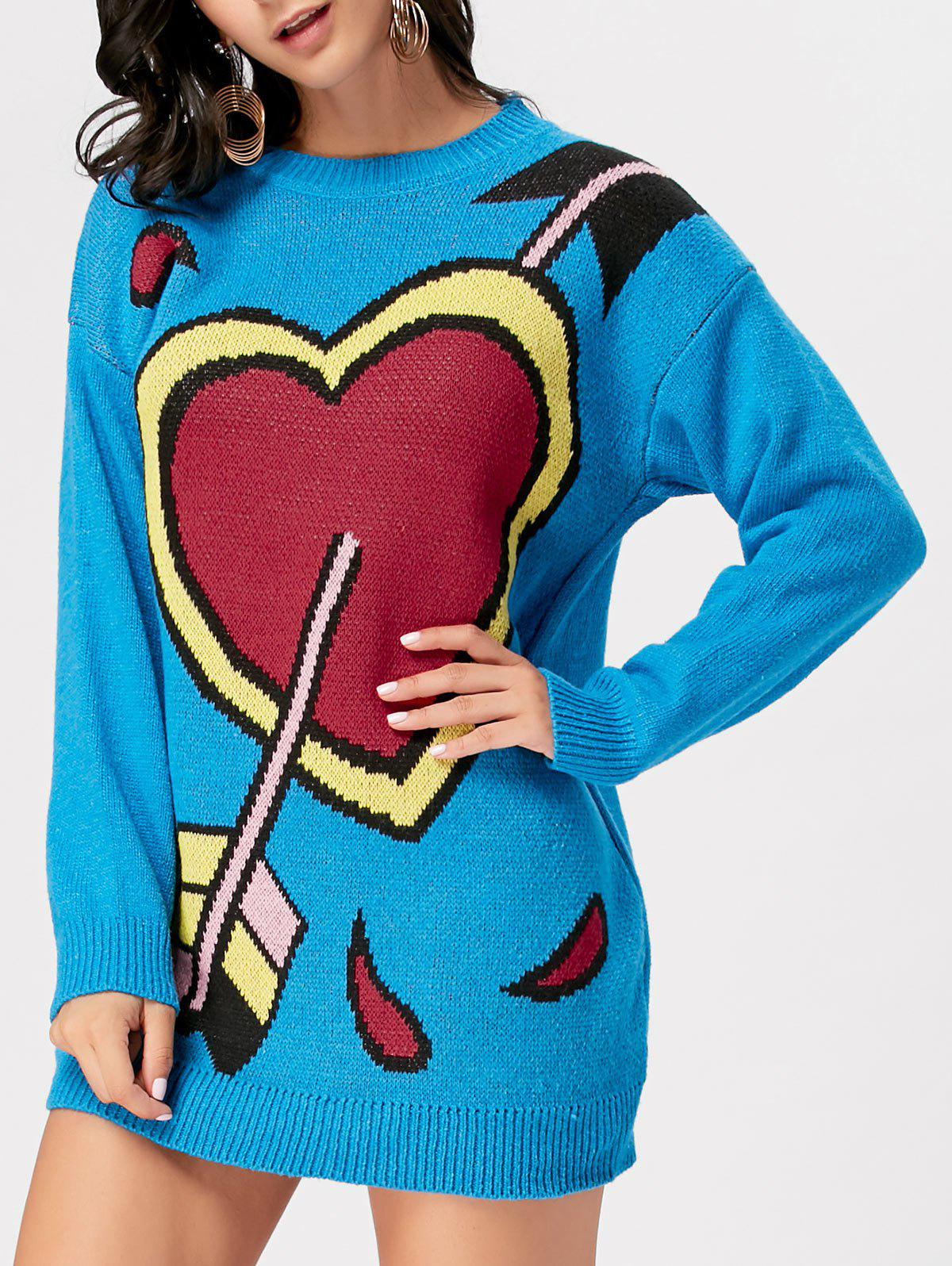 Crew Neck Arrow Heart Mini Sweater Dress - BLUE ONE SIZE