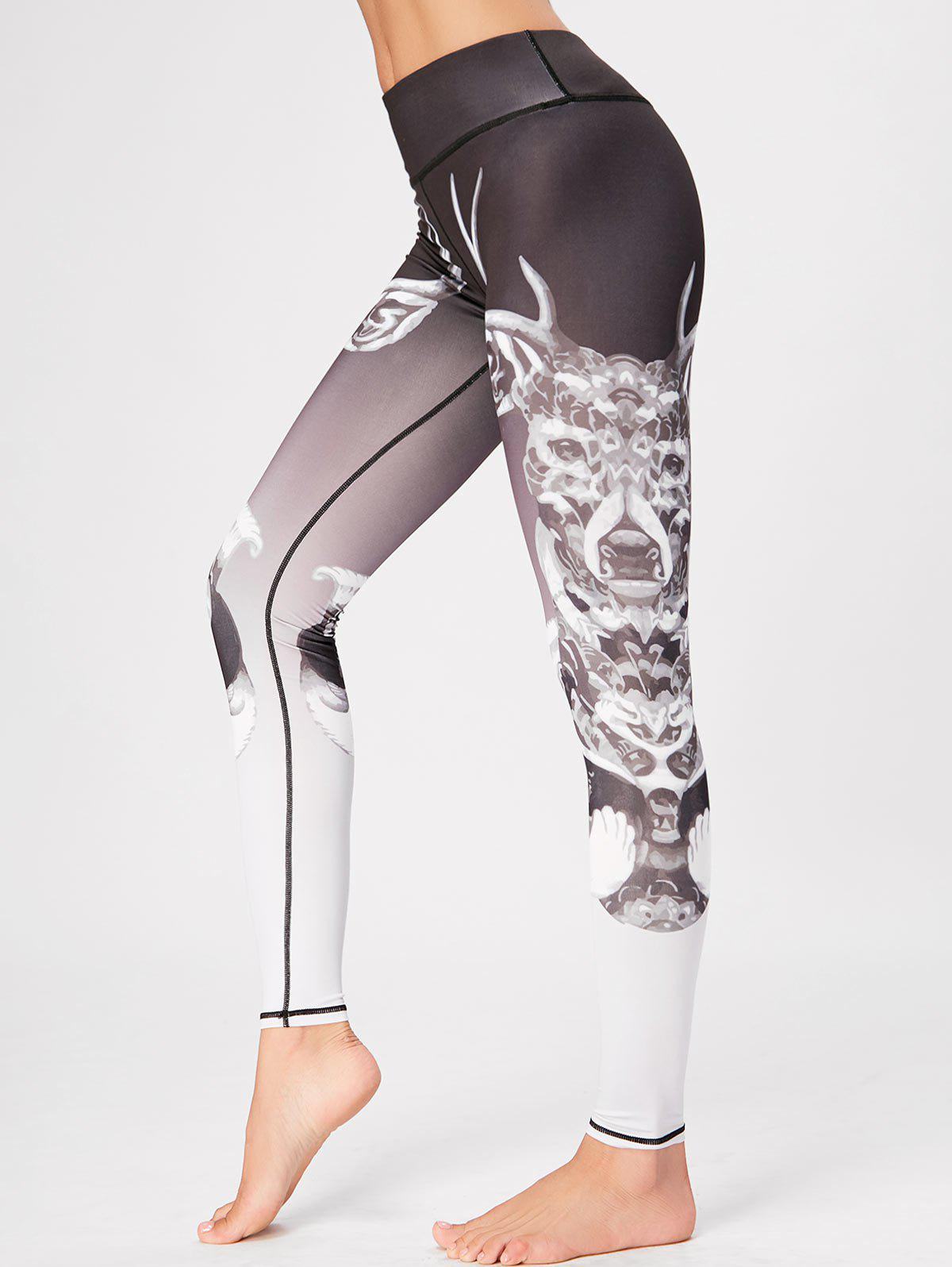 High Waisted Printed Skinny Gym Leggings - COLORMIX XL