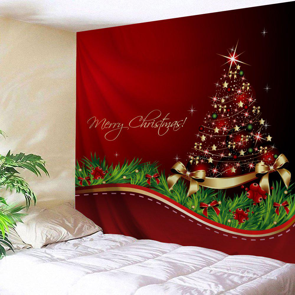 Christmas Tree Bowknot Print Tapestry Wall Hanging Art цены