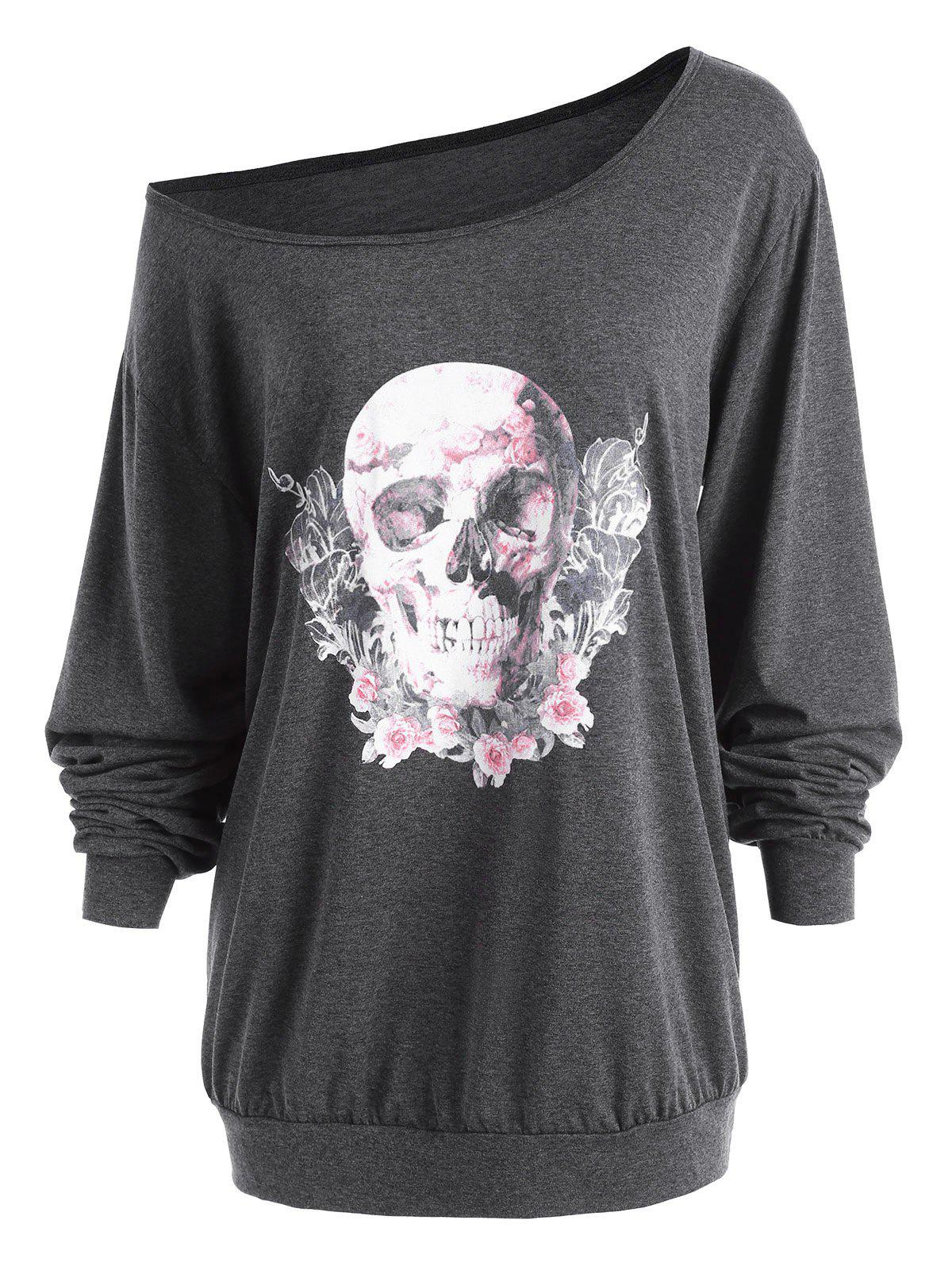 Plus Size Halloween Rose Skull Skew Neck Tee plus size halloween bat stars skew neck sweatshirt