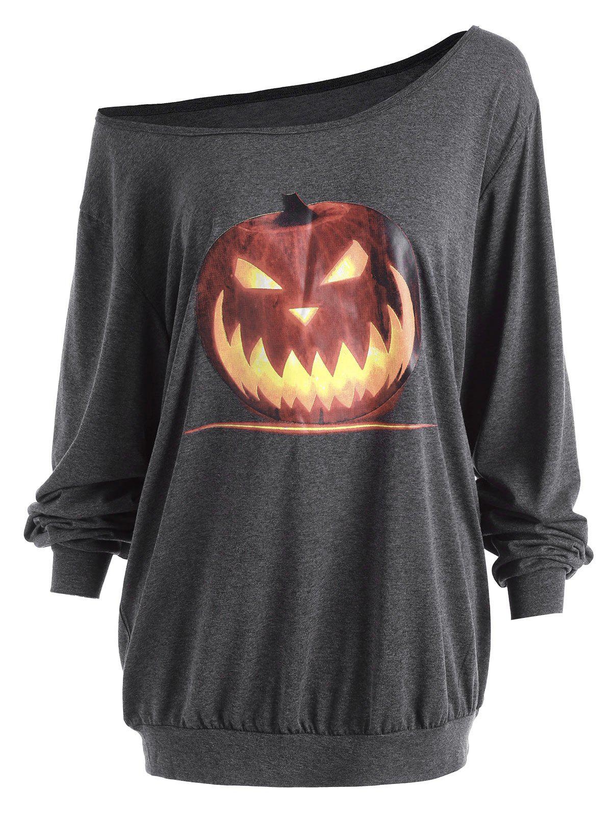 plus size halloween angry pumpkin skew neck tee deep gray 2xl