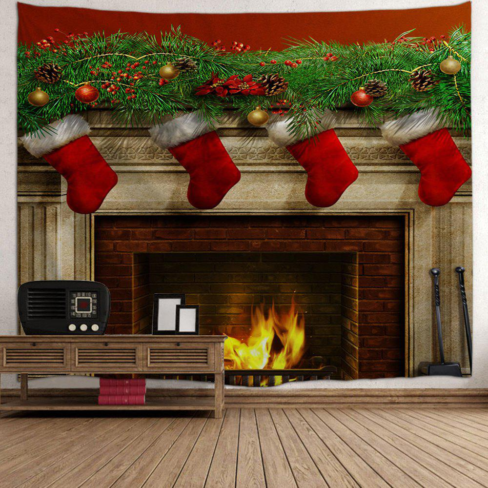 Christmas Fireplace Print Tapestry Wall Hanging Art - COLORMIX W91 INCH * L71 INCH