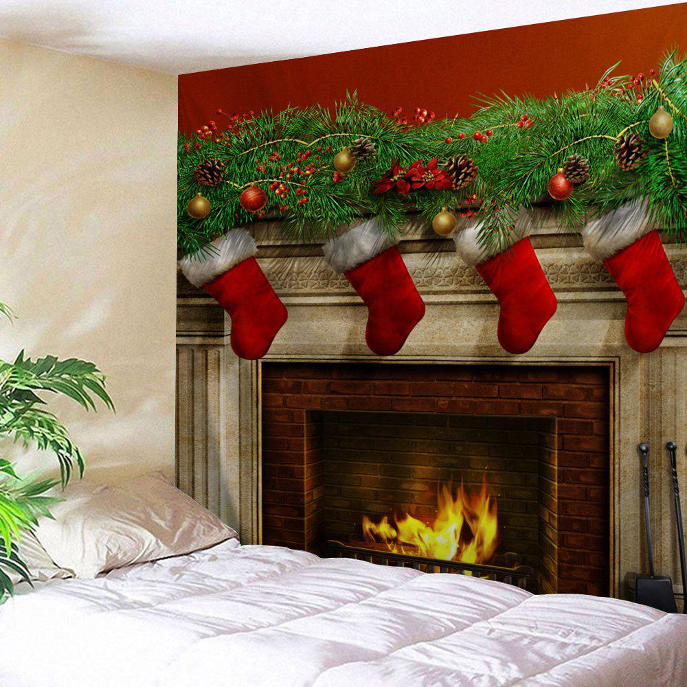Christmas Fireplace Print Tapestry Wall Hanging Art