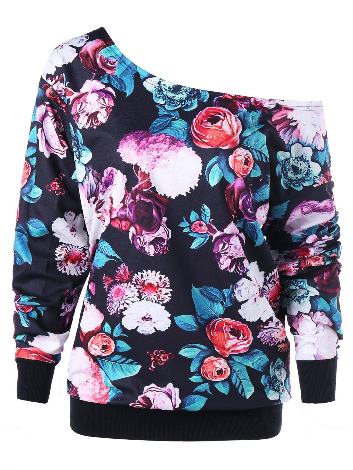 Plus Size Allover Floral Skew Collar Sweatshirt plus size skew neck floral sweatshirt