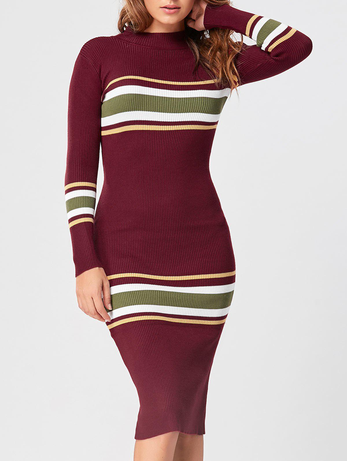 Mock Neck Striped Knit Dress - RED ONE SIZE