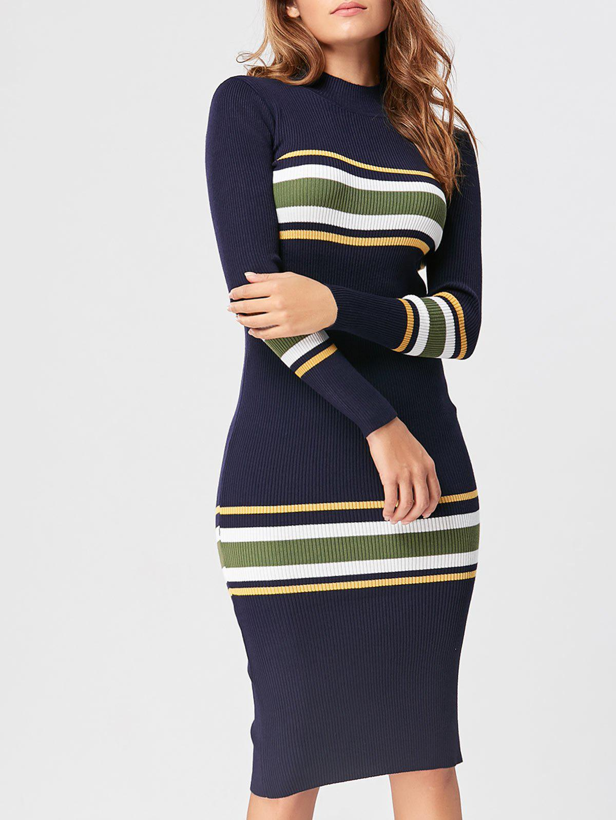 Mock Neck Striped Knit Dress - Azuré ONE SIZE