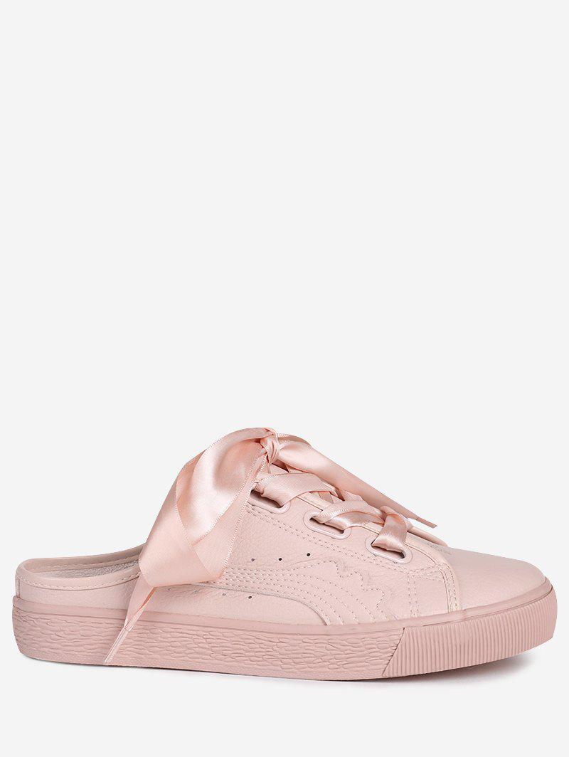 PU Leather Slip On Flat Shoes - PINK 37
