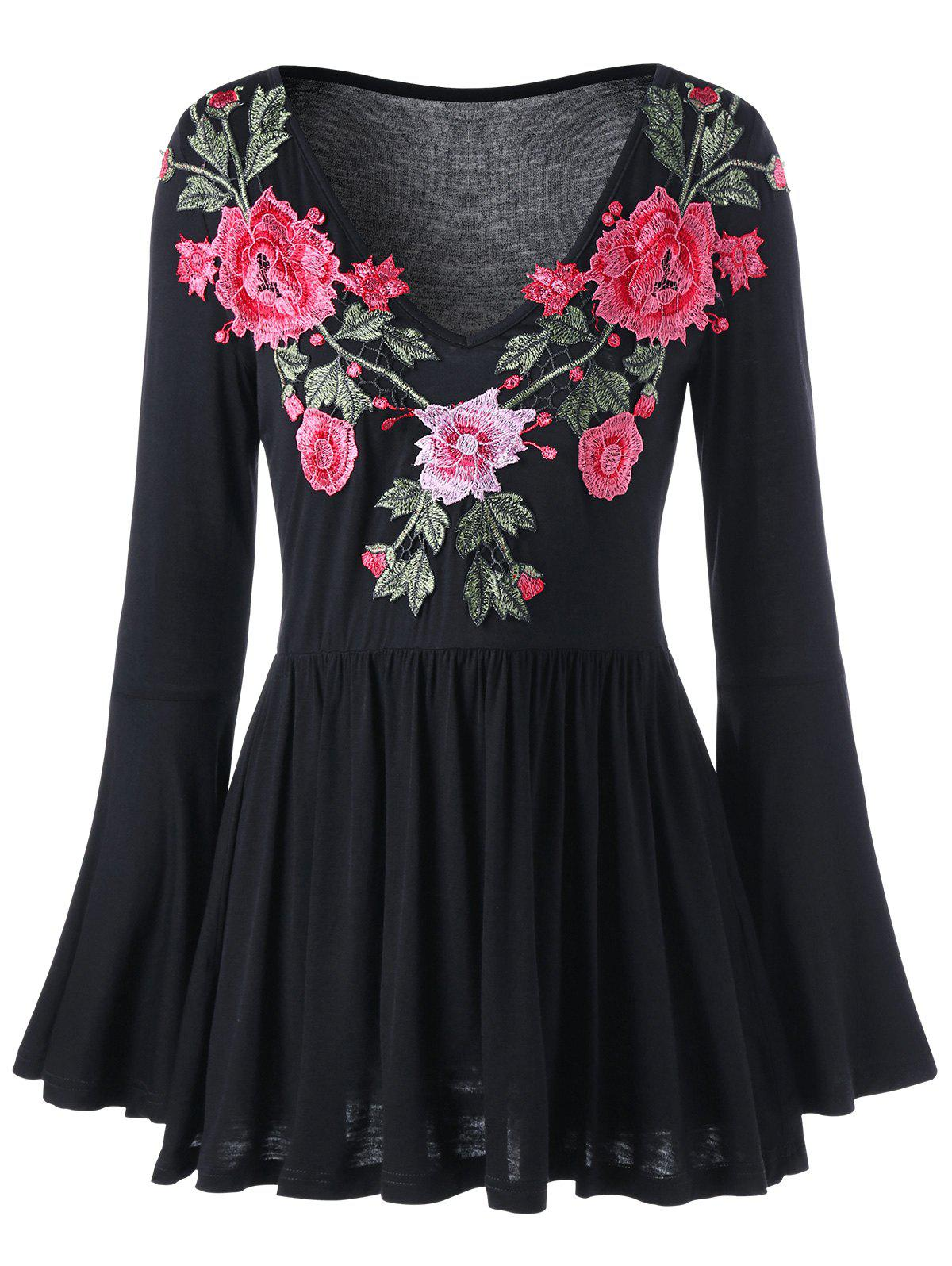 Bell Sleeve Floral Embroidered Peplum Blouse - BLACK 2XL