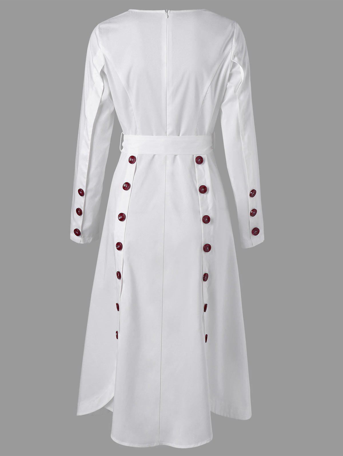 Long Sleeve Buttoned Midi A Line Dress - WHITE XL