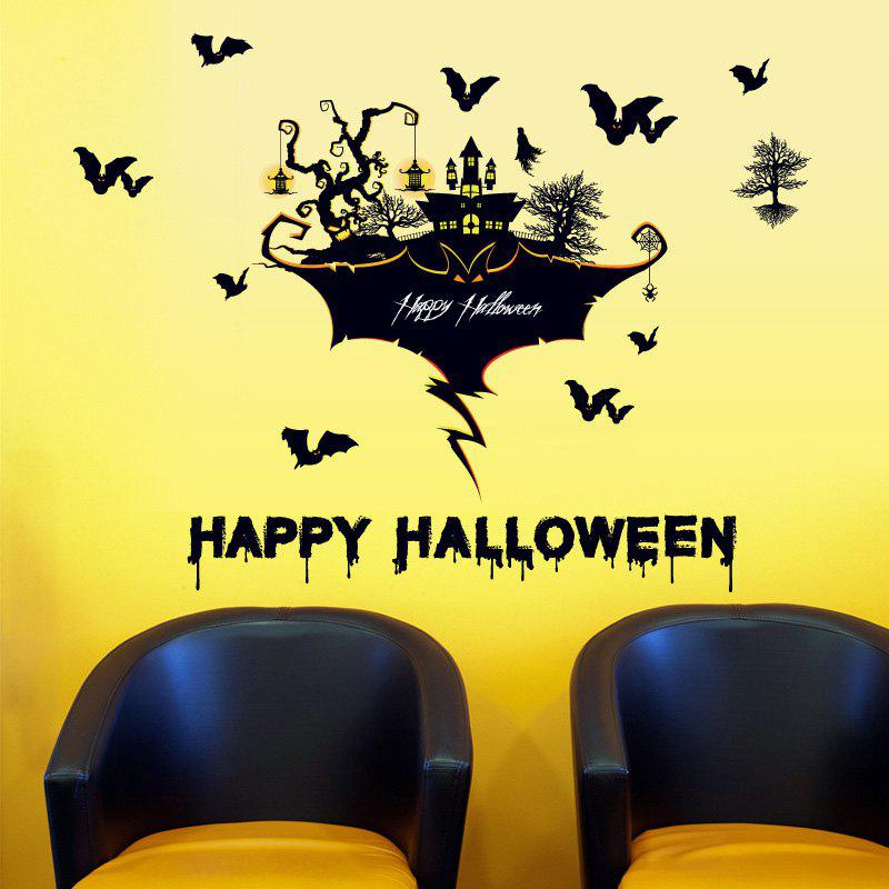 Halloween Castle Bat Wall Art Autocollants pour le salon - Noir