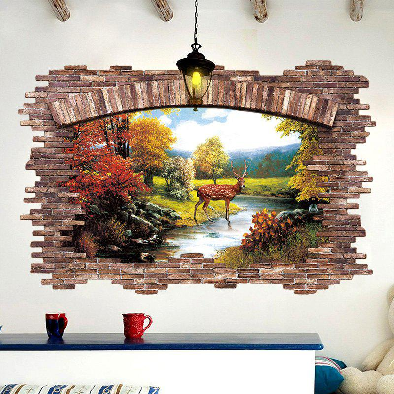 Stream Deer 3D Broken Wall Art Sticker - COLORMIX 60*90CM