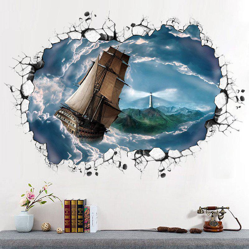 Ocean Ship 3D Broken Wall Art Sticker - Gris Bleuté 60*90CM