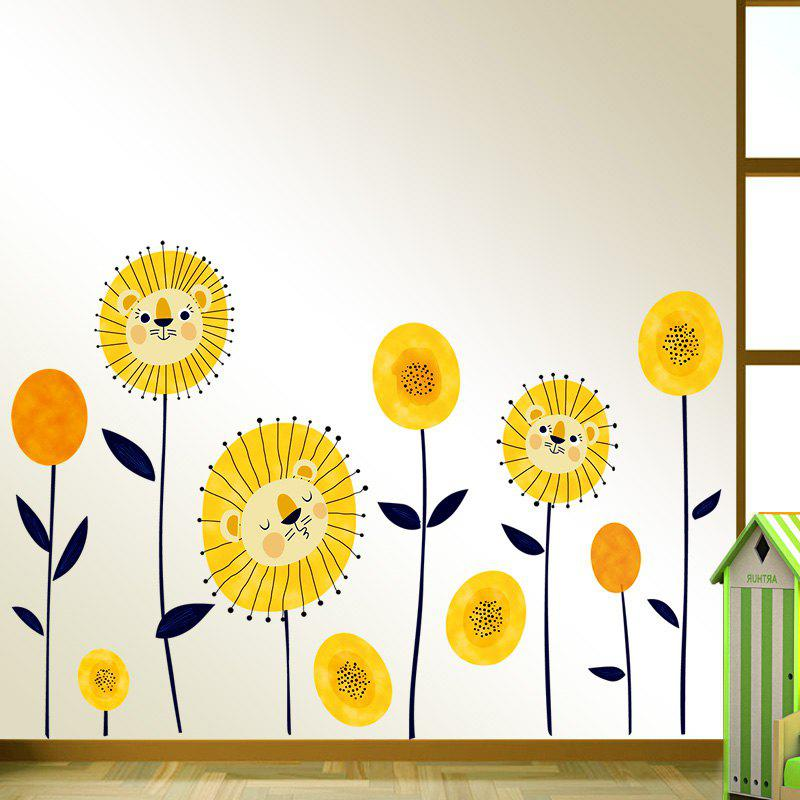 Tiger Flowers Pattern Wall Art Sticker - YELLOW 60*90CM