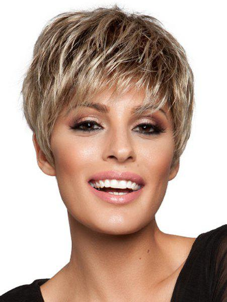 Attractive Side Bang Capless Spiffy Short Perruque synthétique blonde Mixed Brown pour les femmes - multicolore