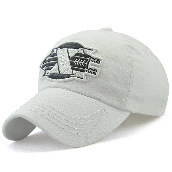 X Battle Embroiderie Badge Embellished Baseball Hat - Blanc