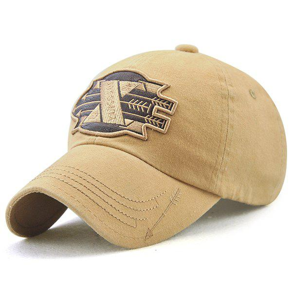 X Battle Embroiderie Badge Embellished Baseball Hat - Palomino