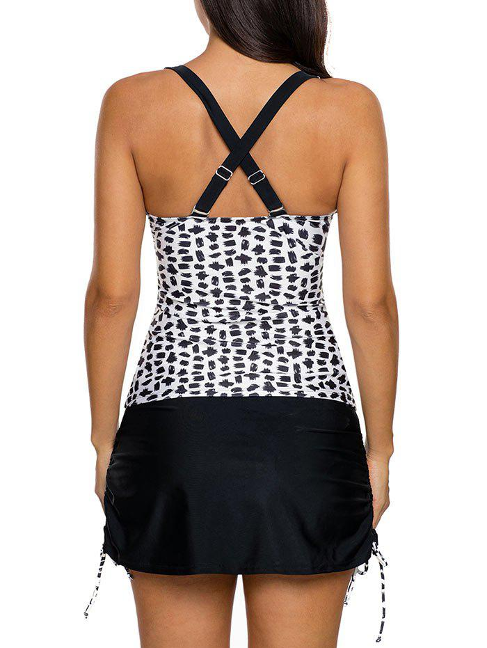 Cross Back Slit Skirted Tankini Set - WHITE/BLACK L