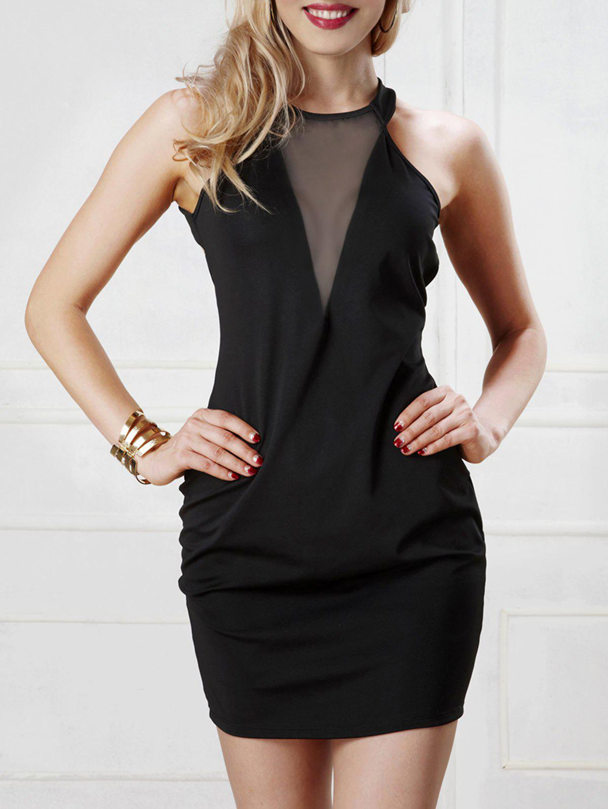 Open Back Mesh Panel Bodycon Dress - BLACK ONE SIZE