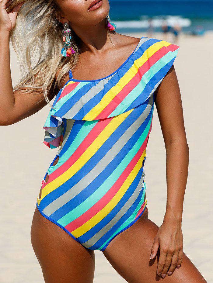 Ruffle Striped Lace Up Swimsuit - COLORMIX XL