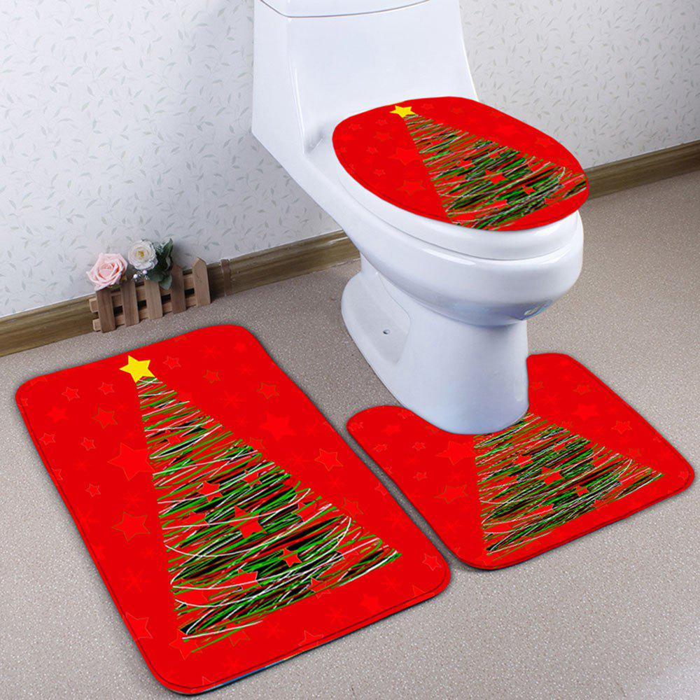 3PCS Christmas Tree Printed Bath Toilet Rugs Set - RED