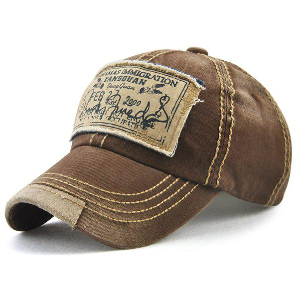 Bahamas Lettres manuscrites Applique Panel Baseball Hat - café