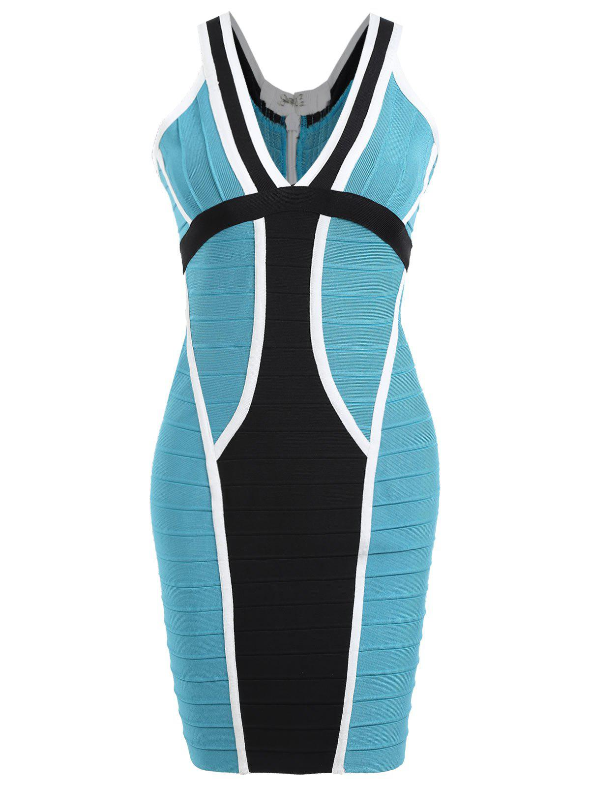 V Neck Color Block Bandage Dress - BLUE L