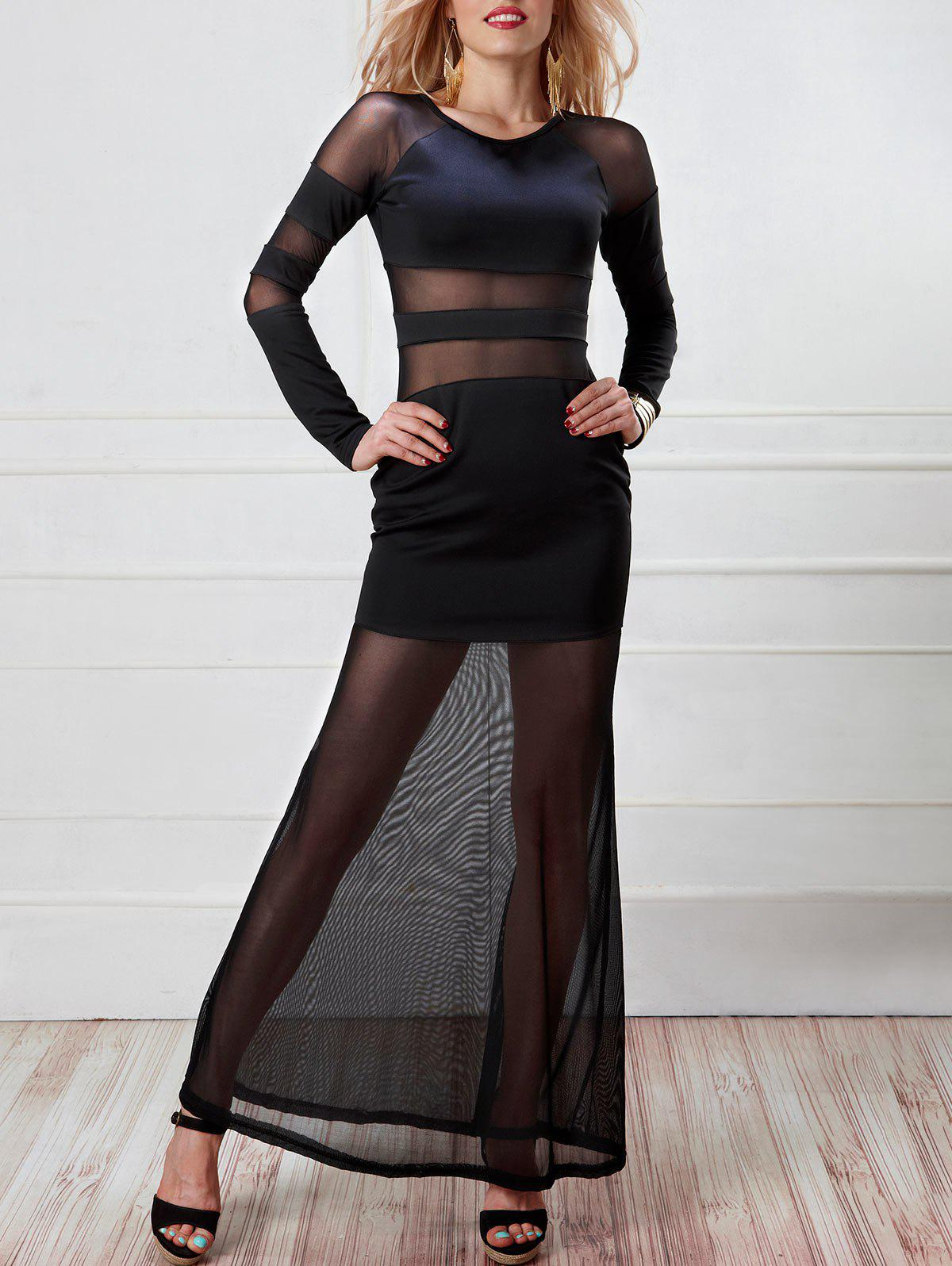 Long Mesh Panel Sheer Dress with Sleeves - BLACK ONE SIZE