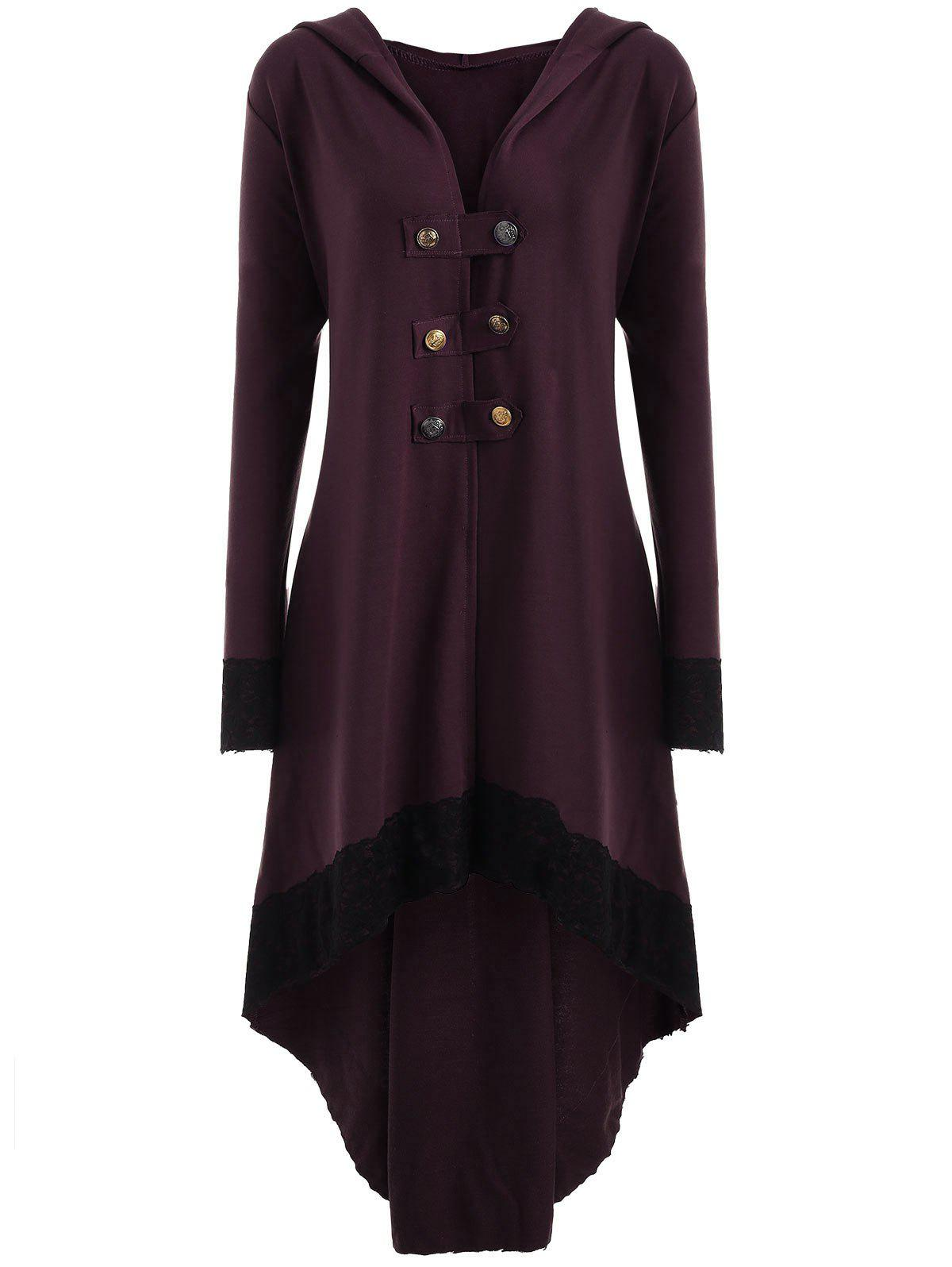 Lace-up Plus Size Hooded High Low Coat - WINE RED XL